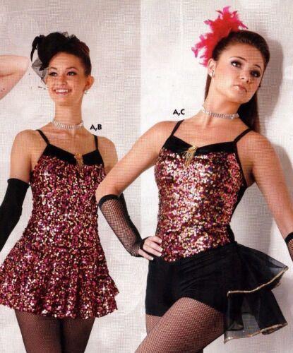 NWT Dance Sequin Foil Lycra Shorty Unitard Gold Fushia Girls szs Costume boycut