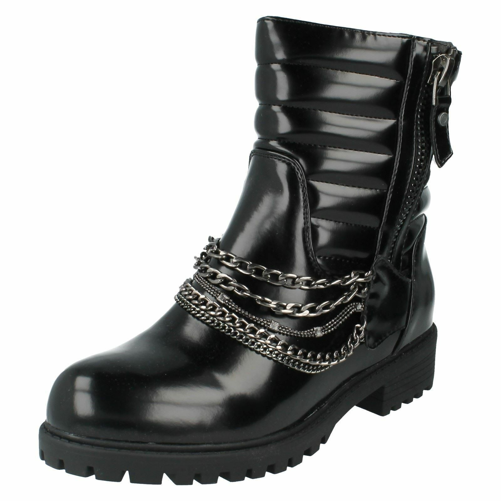 SALE Ladies F50327S black high shine synthetic ankle boots by Spot On £19.99