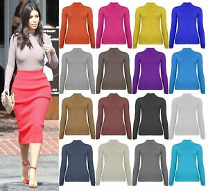 Womens-Ladies-Ribbed-Polo-Turtle-Roll-Mock-Neck-Long-Sleeve-Cotton-Jumper-Tops