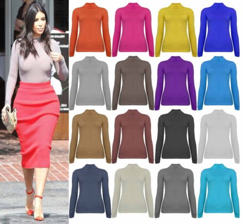 Womens Ladies Ribbed Polo Turtle Roll Mock Neck Long Sleeve Cotton Jumper Tops