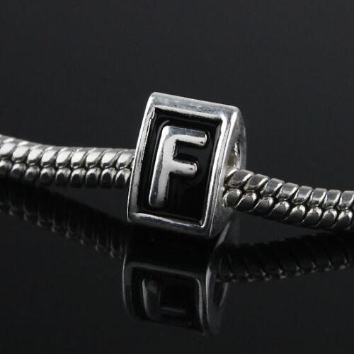 Vente en Gros Alphabet Lettre Big Hole spacer Alliage European Charm Bead Bracelet À faire soi-même