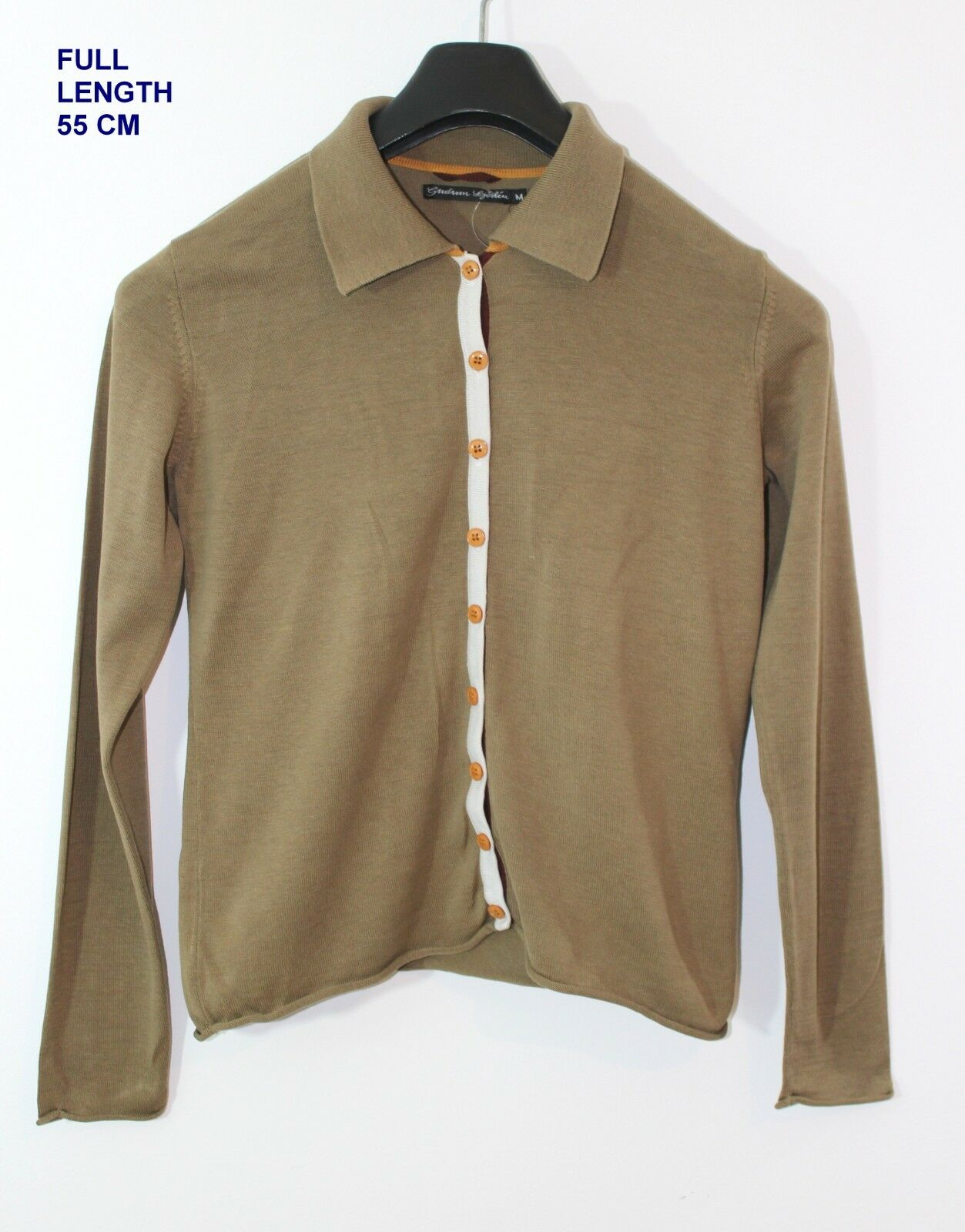GUDRUN SJODEN SJÖDÉN  LADIES WOMAN BLOUSE SHIRT MARKED Größe M OLIVE Farbe H55CM