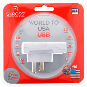 Original SKROSS Travel Adapter With USB Country Adapter To USA