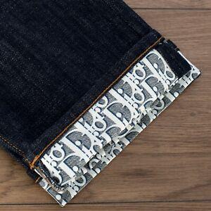 DIOR-HOMME-850-Raw-Blue-Dior-Oblique-Motif-Stretch-Cotton-Jeans