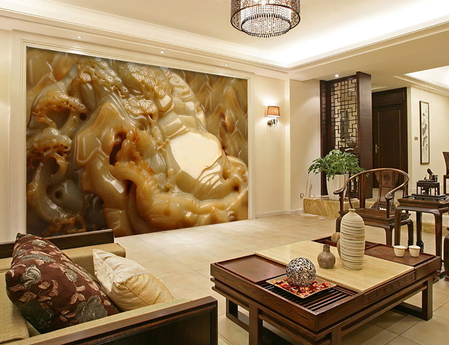 3D Jade stone carving Wall Paper wall Print Decal Wall Deco Indoor wall Mural