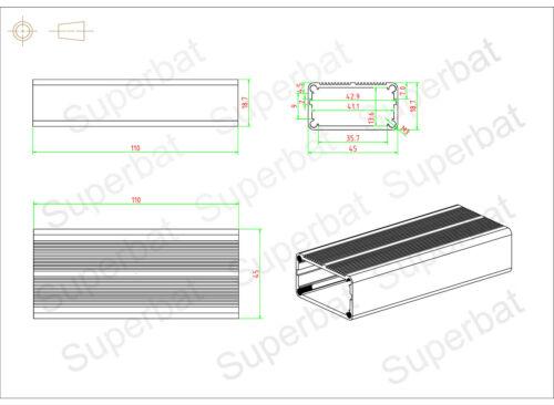 L * W * H 2x Aluminio Proyectos Electrónica Caja Caja caso Hágalo usted mismo 110*45.5*18.5mm