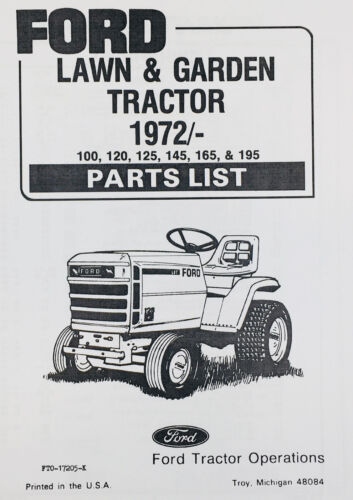 FORD 100 120 125 145 165 195 LAWN GARDEN TRACTOR PARTS MANUAL CATALOG