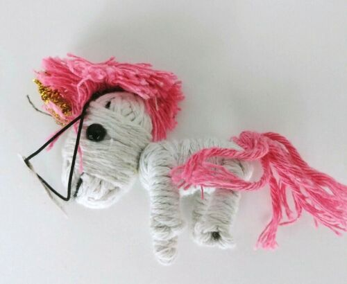 """lot of 3 Unicorn String Doll whiye pink blue purple toy collectible 2/"""""""