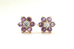 9ct-Gold-Amethyst-and-CZ-Cluster-Studs-Earrings-Gift-Boxed-Made-in-UK