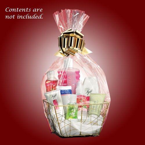 Avon GOLD metal wire gift basket kit ~ cello wrap, tissue & gold bow NEW  Sealed