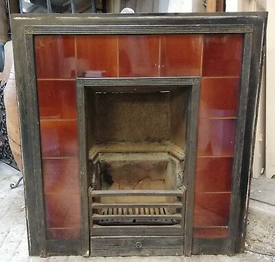 100% Quality Edwardian Cast Iron Tiled Fire Insert With Attractive Red Tiles Ref Fi0015 Sturdy Construction Architectural & Garden