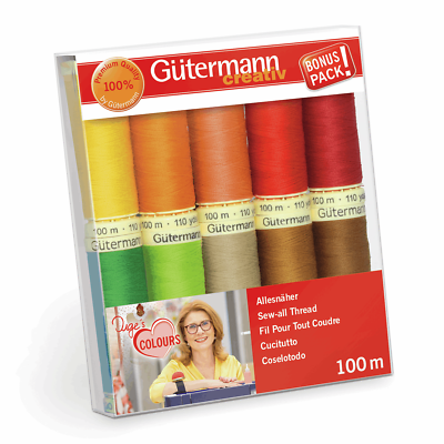 Sign//Ironing Pattern Gutermann Sew All Thread Set 10x 100m Reels Mix Colours