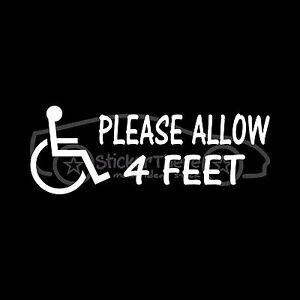PLEASE-ALLOW-4-FEET-Sticker-Disabled-Decal-Wheelchair-Handicap-Vehicle-Van-Door