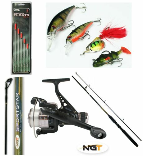 1 X 6FT 2 PIECE NGT SPINNING ROD + 1 x FISHING REEL + LINE + SPINNERS + FLOATS