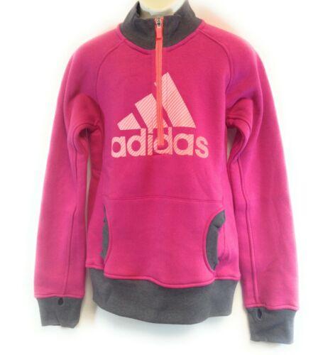 Girls Kids Youth Adidas BX-R77LA Pink Grey Peach 1//2 Zip Pullover Sweatshirt