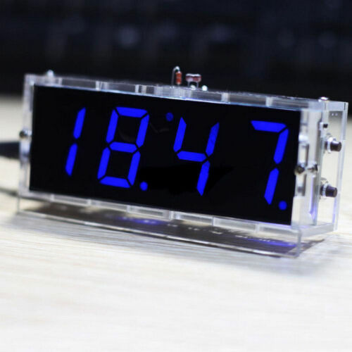 Bausatz LED 4-Digital Anzeige Uhr Clock Thermometer Light Kit DIY Mit Gehäuse