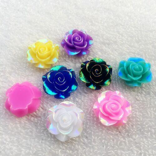 E65 19mm 10pcs Resin rose Flower AB resin 3D flower Cabochons Cameo DIY wedding