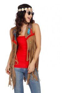 big sale 8708b fd2a0 Details zu Fransen-Weste in Wildleder-Optik für Hippie und Indianerin Damen  Kostüm 70er