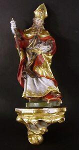 Heiliger-Rudolf-Bildhauer-Holzfigur-auf-Podest-farbig-gefasste-und-vergoldet