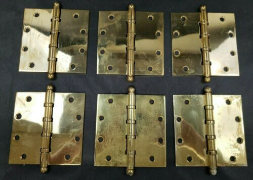 """Lot of Six Screws Included 5/"""" Brass Hinges with Ball Tips Polished Brass"""