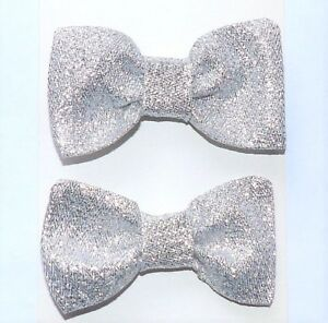 Frugal 2 New Vintage Style Glitzy Silver Glamour Party 3in Handmade Hair Bows Clip E298 Fast Color Women's Accessories Clothing, Shoes & Accessories