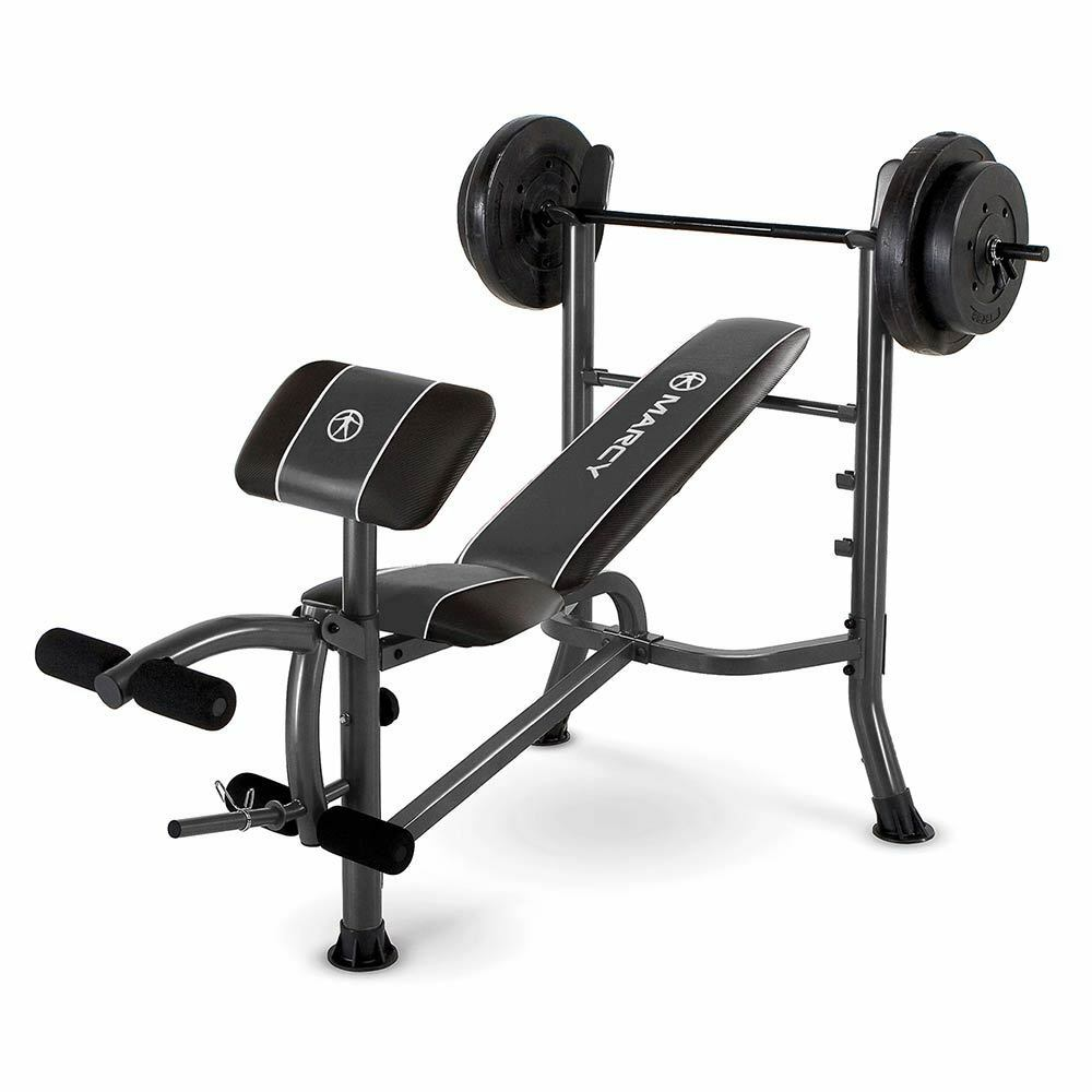 Marcy Standard Bench w  80-lb. Weight Set   MWB-20101 Chest Leg Workout Exercise