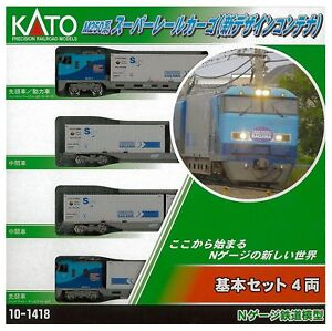 Kato-10-1418-M250-Series-Super-Rail-Cargo-New-Design-4-Cars-Basic-Set-N