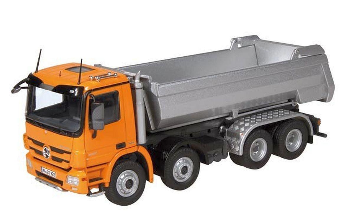 Nzg 1 50   825 65 Mercedes-Benz Actros 8x4 Halfpipe-Kipper, Orange   Argent
