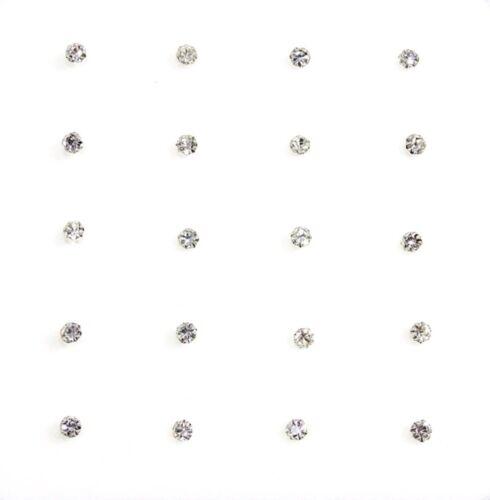 20x plata esterlina Recto Pin redondo de cristal transparente conjunto de Garra piercings para nariz