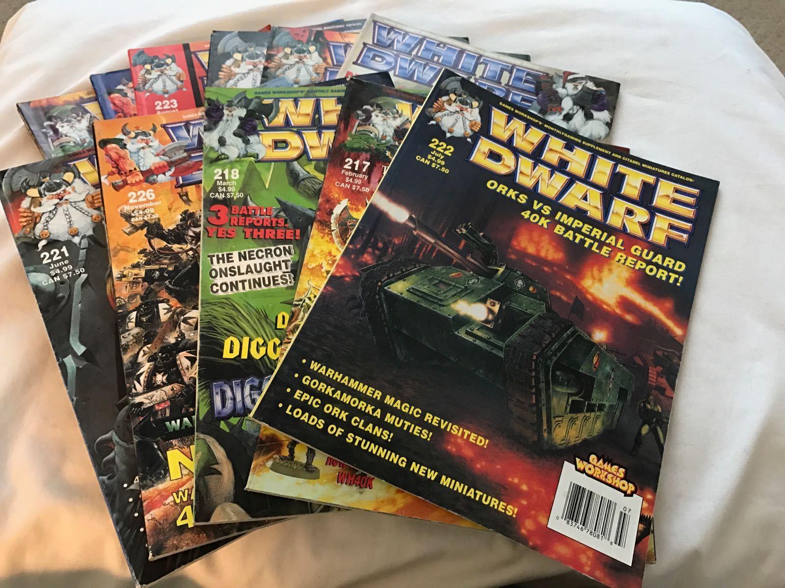 LOT OF 11 GAMES WORKSHOP WHITE DWARF WARHAMMER 40K MAGAZINES ISSUES 217-228 1998