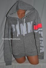 f079c51144e1f Victoria's Secret Pink Ultimate Full Zip Hoodie Gray Marl Neon ...