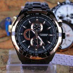 CURREN Brand Luxury Black Steel Band Business Casual Watch For Men With Box