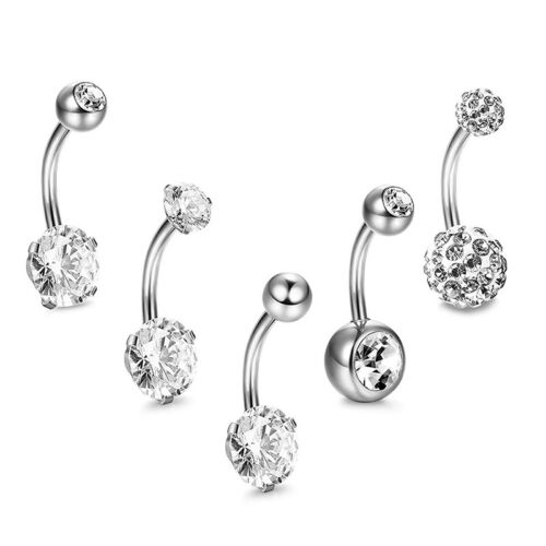 5x//Set Stainless Steel Crystals Navel Belly Button Rings Bars Piercing Jewel TD