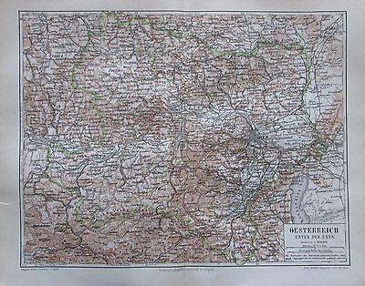 Oesterreich Österreich unter der Enns 1896 alte Landkarte antique map Litho