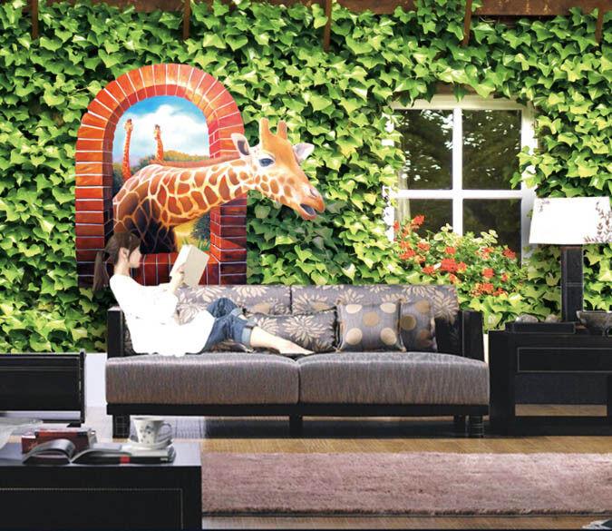 Papel Pintado Mural Vellón Ventana Creativa De Jirafa 2 Paisaje Fondo Pansize