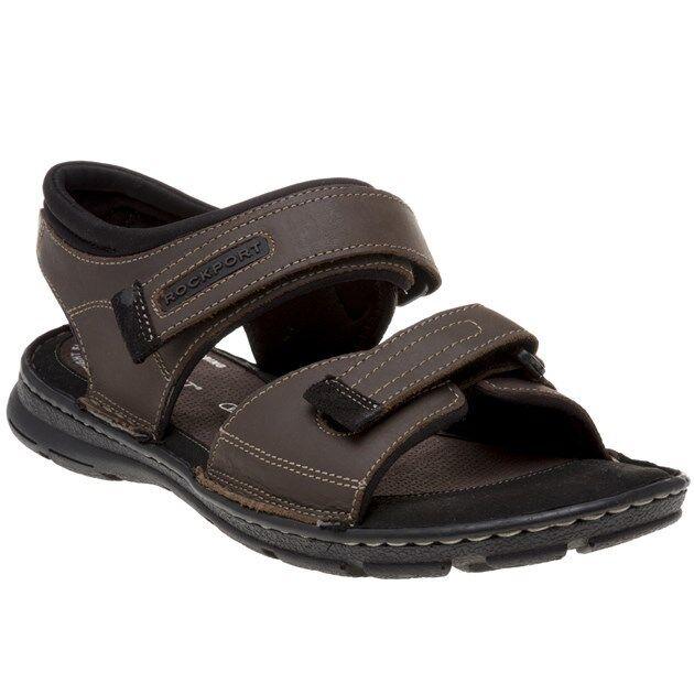 New Mens Rockport Brown Darwin Qtr Strap Leather Sandals Sports Slip On
