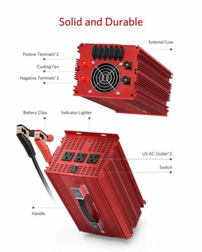 BESTEK Power Inverters 2000W Watt 12V DC to 110V AC 3 Outlets Modified Sine Wave