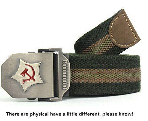 New Men Belt Thicken Canvas Communist Military Belt Army Tactical Belt High
