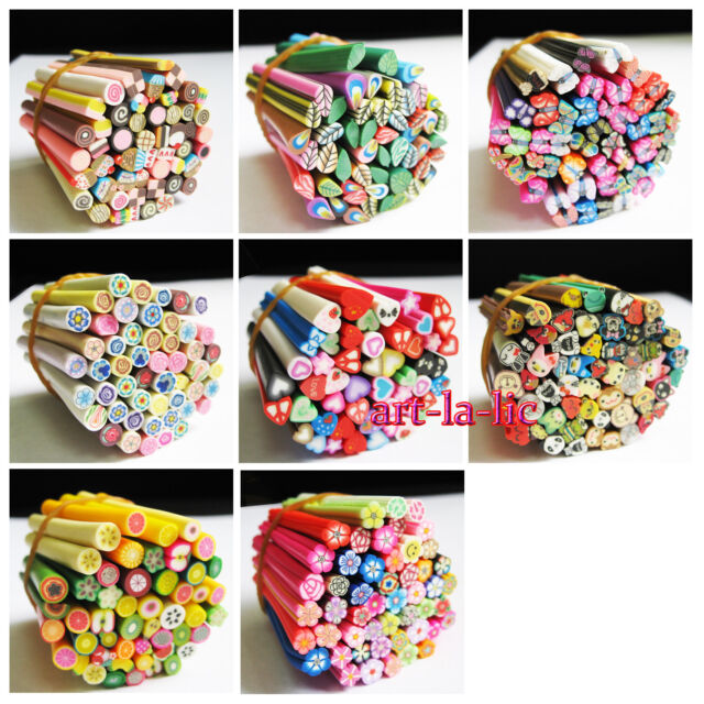 50pcs 3D Nail Art Fimo Canes Stick Rods Polymer Clay Stickers Tips Decor