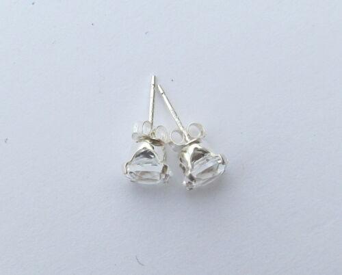 Spectaculaire 2 Ct Authentique Blanc Topaz Post Style Argent sterling Boucles d/'oreilles WTE47