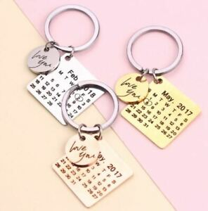 Amaxer Personalized Custom Calendar Gadget Keychain Stainless Steel Pendant Gift