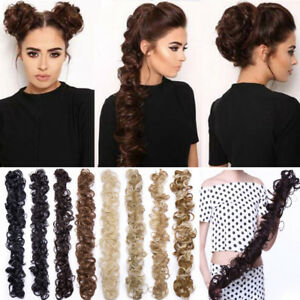 Details About Long Thick Hair Extensions Scrunchie Wrap Messy Bun Updo Curly Ponytail Chignon