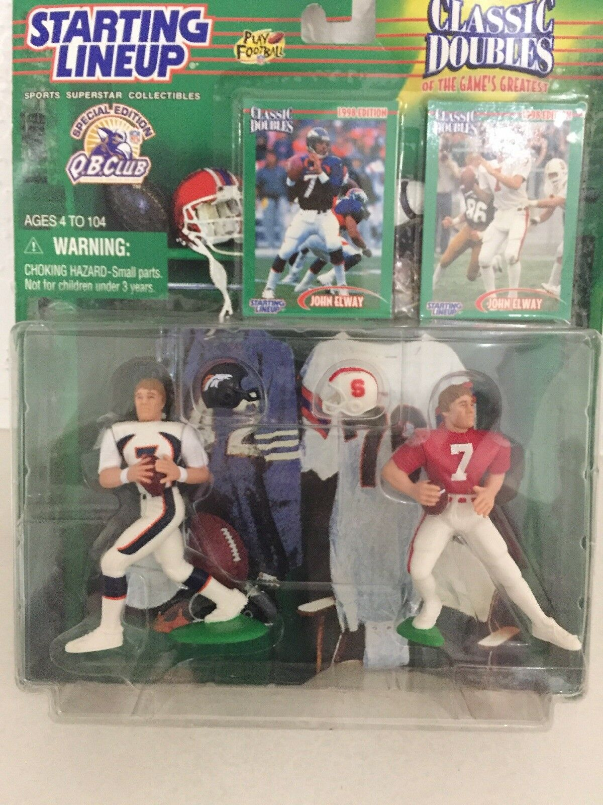 Starting Lineup Classic Doubles 1998 John Elway College & Pro In Predech Case