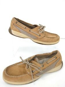 Sperry-Top-Sider-Intrepid-Tan-Boat-Shoes-Womens-Sz-9-5-Classic-Leather-Slip-On-A