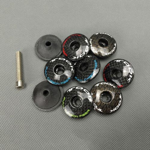 """3K Carbon Fiber MTB Road Bike Stem Headset Top Cap Cover Bolt For 1-1//8/"""" Fork"""