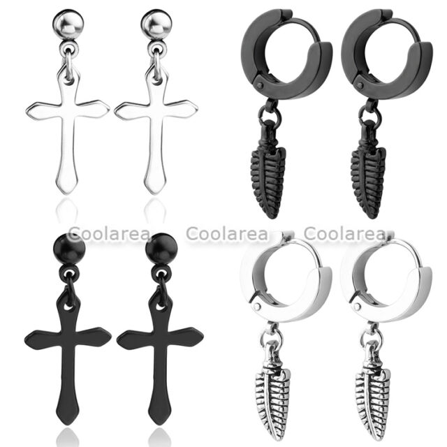 bcf9b5a27 8pc Stainless Steel Cross Feather Ear Cartilage Helix Stud Earring Piercing  for sale online   eBay