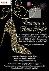 Glitter-Floral-Dancing-Shoe-Bride-Hens-Night-Bling-invitations-invites-12clrs