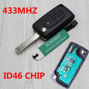 For-Peugeot-207-307-308-407-2-Button-Remote-Alarm-Flip-Key-Fob-433MHz-ID46-K15