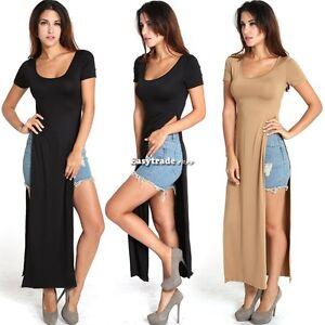 Sexy High Side Double Slit Splits Long Maxi Dress T Shirt