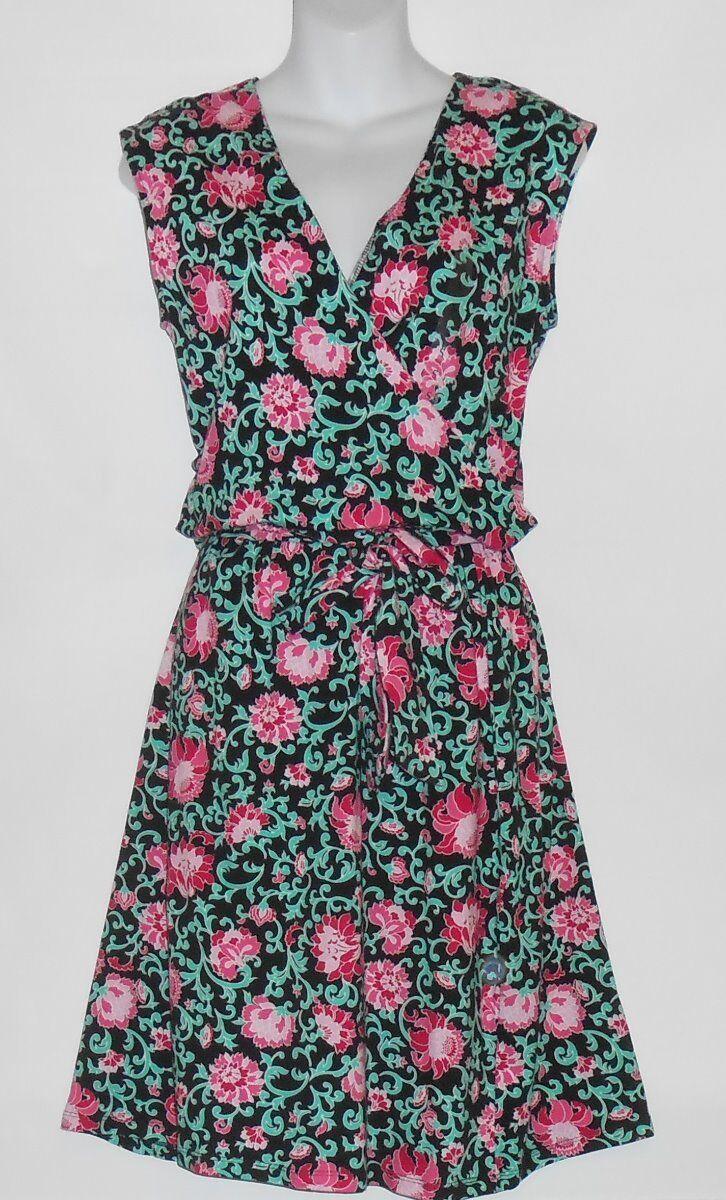 Jones New York Signature Sleeveless Semi Wrap Floral Dress + Belt schwarz Combo M